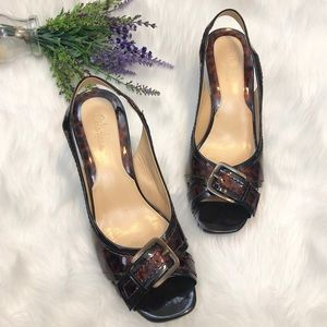 COLE Haan Tortoise Shell Patent Slingback Heels